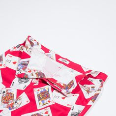✦ CLICK TO BUY ✦ MOSCHINO - Red cotton skirt - Gonna rossa in cotone - French playing cards pattern - vintage clothing