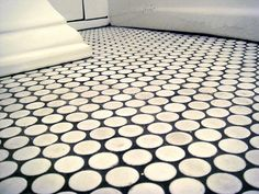 White Penny Tiles with Dark Grout for children's bathroom