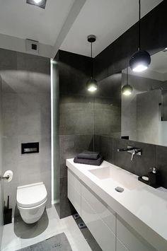Casas de banho modernas por ARTEMA  PRACOWANIA ARCHITEKTURY  WNĘTRZ Corner Bathtub, Decoration, Interior Inspiration, Toilet, Sweet Home, House Design, Bathroom Ideas, Home Decor, Bathrooms
