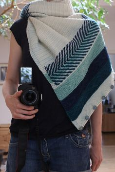 Om Shawl by Andrea Mowry | malabrigo Rios in Natural, Teal Feather, Azul profundo and Water Green.