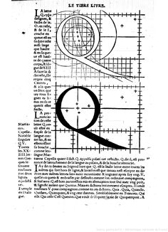 Fig 7-28 Geoffroy Tory, construction of the letter Q from Champ Fleury 1529. Tory uses five compass centers in a effort to draw an geometrically ideal Q.