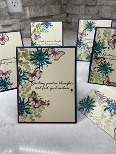 Dig out those stamp sets, paper, ink and embellishments and lets get some cards going. Some Cards, Get Well Cards, Butterfly Cards, Flower Cards, Tarjetas Stampin Up, Mini Albums, Karten Diy, Stamping Up Cards, Positive Thoughts