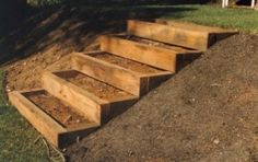 A set of stacked timber steps