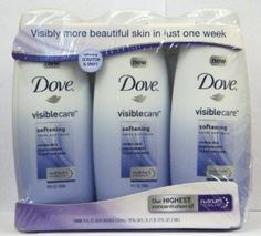 Dove VisibleCare Softening Crème Body Wash (Pack of 3 Bottles, 18 Oz Each) by Dove. $17.89. With our highest concentration of NutriumMoisture. This beautifully rich crème formula lathers thick yet rinses clean. Visible skin improvement in just one week. Designed to soften skin and dry spots. Dove VisibleCare Softening Crème Body Wash. Can your Body Wash Actually Give You more beautiful skin? Absolutely. Designed to soften skin and dry spots, this unique formula - with o...
