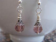 Lavender Purple Facet Glass Dangle Earrings Doodaba by doodaba Purple Earrings, Silver Earrings, Dangle Earrings, Faceted Glass, Glass Beads, Vintage Pink, Vintage Ladies, Tote Bags Handmade, Beaded Jewelry