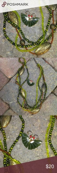 """Necklace and Pin Green and brass bead necklace with a separate butterfly pin. Necklace 28"""" long. Pin 1.5""""  x 1"""" Jewelry"""