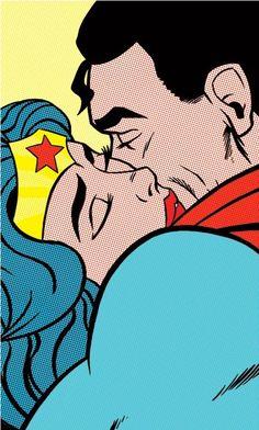 Superman and Wonder Woman Pop Art