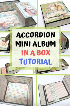 Mini album in a box - video tutorial on how to fit a paper accordion into a box. Watch the video to see how Craft Projects For Adults, Easy Craft Projects, Craft Tutorials, Craft Ideas, Paper Box Tutorial, Mini Album Tutorial, Paper Gifts, Diy Paper, Paper Crafting