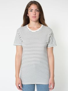 Stripe Tee- with burnt orange or red text