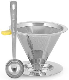 BCI Coffee Master Stainless Steel Paperless Reusable Double Mesh Pour Over Coffee Maker Filter with Built-in Stand and 1 Coffee Scoop * To view further, visit now : Coffee Maker