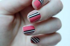 #nail #nails #nailart Stripe, black & white, pink. Trendy nail art.