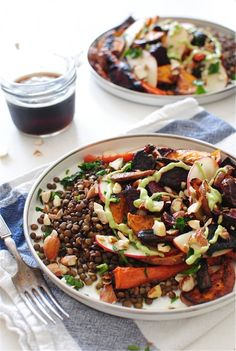 french lentils with roasted root vegetables.
