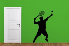 Serving Tennis Player Silhouette Vinyl Wall by StreamlineDesign, $32.95