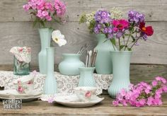 Everywhere you go you can find thrift store glass that nobody wants - gold mine! Why not turn it into a fantastic coordinating collection using spray paint?