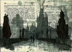 Book Art is Awesome: Drawn Edition  Book Riot  Image: Book art from Emanuel Art on Etsy
