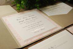 Wedding Invitation  Pink Flowers by birdhousestationery.