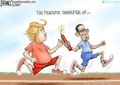 Obama shows his true colors while passing the Baton to Trump Caricature, Obama Failures, Trump Tapes, Conservative News, Political Cartoons, Political Satire, True Colors, Politics, Peace