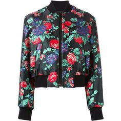 MSGM floral jacquard bomber jacket ($373) ❤ liked on Polyvore featuring outerwear, jackets, tops, coats, black, floral-print bomber jackets, flower print bomber jacket, floral bomber jackets, multi-color leather jackets and style bomber jacket