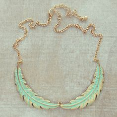 Aqua Laurel Leaves Necklace