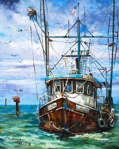 Shrimp Boat, Mississippi GulfCoast Shrimp Boat Returning to Harbor, Louisiana Bayou Art, Fishing Print, Louisiana Marine Art - 'Coming Home' - Louisiana Bayou, Louisiana Seafood, Shrimp Boat, New Orleans Art, Boat Art, Boat Painting, Painting Art, Fishing Boats, Canvas Art
