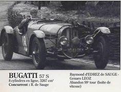LE MANS 1937 - BUGATTI Type 57S #18 - Raymond d´Edrez de Saugé - Genaro Léoz Abad