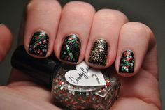 Christmas nails featuring The Hungry Asain 'Candy Cane' and China Glaze 'Twinkle Lights' by TartanHearts, via Flickr