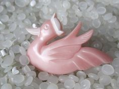 vintage hair barrette  soft pink bird sporting a by rosebudcottage