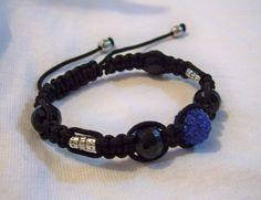 Shamballa Bracelet w Blue Crystalized Bead & by BellasKreations, $20.00
