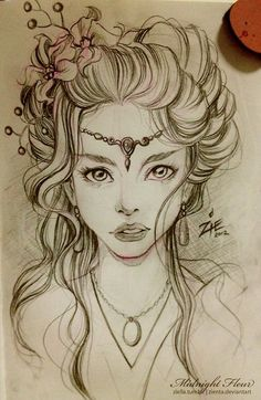 Hair is beautiful so is that face. #drawing  |For more mermaid love, click here--> https://www.pinterest.com/thevioletvixen/wish-you-were-a-mermaid/