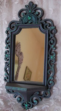 Vintage Mirror Shelf by Syroco Dart Jewelled by WildMountainStudio, $85.00