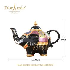 Hand painted porcelain elephant teapot Painted Porcelain, Hand Painted, Elephant Teapot, Teapots, Tableware, Dinnerware, Tablewares, Dishes, Place Settings