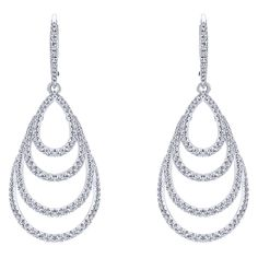 14k White Gold Diamond Drop Earrings | Gabriel & Co NY | EG12957W45JJ