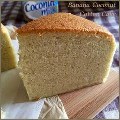My Mind Patch: Banana Coconut Cotton Cake 香蕉椰香棉花蛋糕 Banana Recipes, Almond Recipes, Cake Recipes, Ogura Cake, Swiss Cake, Cake Varieties, Cotton Cake, Banana Coconut, Coconut Milk
