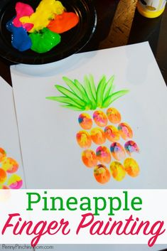 Cute STEAM project! Easy Kids DIY Project: Pineapple Finger Painting! This is the perfect craft for toddlers, school crafts, scouting, summer camp and more! Kids love to get dirty and have fun creating and this simple craft project lets them do just that! Finger Paint Project | Summer Art Project | Kids Crafts | Easy DIY Home Decor | Easy Art Project | Summer DIY | Kids Summer Craft | #summercrafts #DIY #painting #kidscrafts