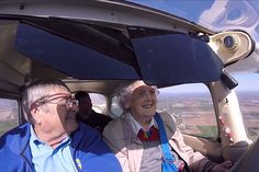 """Think you're too old for a bucket list? These 90-somethings disagree    Mildred """"Milly"""" Reeves, right, flies a Cessna Model 172 with assistance from pilot Pete Lockner, left. (Screengrab of family video/YouTube)"""