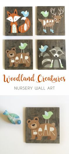 Just adorable! Baby animal paintings, fit perfectly in any woodland themed nursery! Woodland Creatures Nursery, Woodland Baby Nursery, Wood Nursery, Nursery Wall Art, Girl Nursery, Woodland Animals, Themed Nursery, Nursery Themes, Nursery Ideas