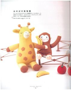 DIY Toy Giraffe and Monkey - FREE Sewing Pattern. Couldn't find pattern, but pics are good Sewing Toys, Baby Sewing, Sewing Crafts, Sewing Projects, Sewing Patterns Free, Craft Patterns, Free Sewing, Zoo Toys, Rainy Day Crafts
