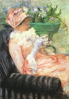 """Painting, """"Cup of Tea"""", by Mary Cassatt,1880"""