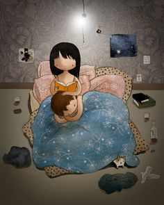 Items similar to Bedtime Story cute romantic couple reading in bed watercolor drawing print on Etsy Romantic Couples, Cute Couples, Cute Love Cartoons, Watercolor Drawing, Lectures, Bedtime Stories, Illustrations, All You Need Is Love, Conte