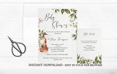 Fox Baby Shower Invitation Animal Baby Shower Invite