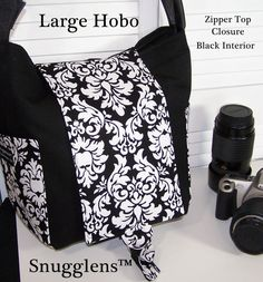 Digital slr camera bag hobo womens padded camera case Lge  black damask  ZIPPER closure and side release buckle SNUGGLENS