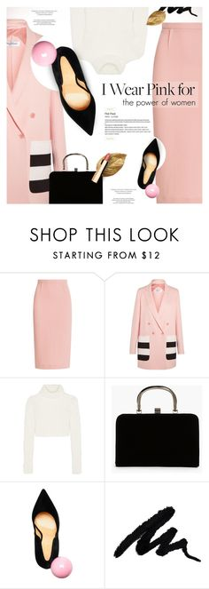 """""""Breast Cancer Awareness Month"""" by monazor ❤ liked on Polyvore featuring Roland Mouret, MaxMara, Roberto Cavalli, Boohoo, Giannico, Clarins, womenfashion, IWearPinkFor and pinkwhiteandblack"""