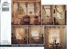 VOGUE PATTERN Curtains Valance Swag Jabot Pillows And Chair Cover (uncut)