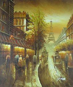 """Assinado pintados à mão pintura a óleo 24 """"X20"""" Rua de Paris Torre Eiffel Cidade P145"""