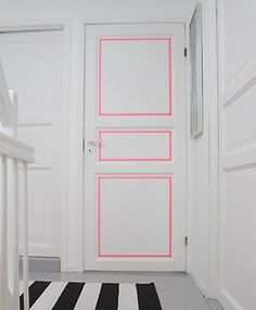 loving this neon door element.  washi tape diy inspiration anyone?  tx ohjoy