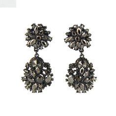Women's Fashion Retro Black Bling Rhinestones Dangle Stud Earrings, MT_081