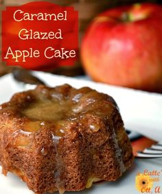 Caramel Apple Glazed Cake...you will love the apples and spices of this cake drizzled with caramel sauce.