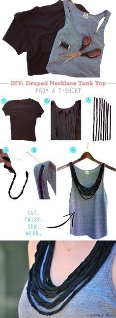 cremedelacraft.com - Dos camisetas en una - Draped Necklace Tank Top