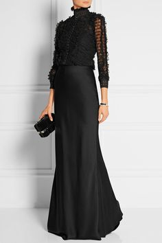 Alexander McQueen   Ruffled silk-blend lace top   NET-A-PORTER.COM