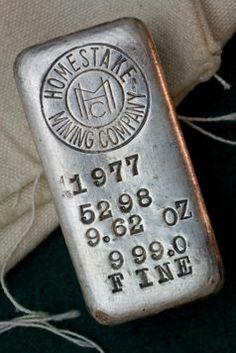 Homestake Mining Company Silver Bullion Bar - Ingot poured in 1977 - Old style logo Gold Bullion Bars, Bullion Coins, Silver Bullion, Silver Investing, Silver Ingot, Gold Prospecting, Gold Money, Mining Company, Gold Tips